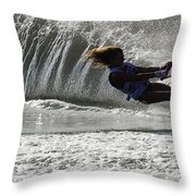 Water Skiing Magic Of Water 12 Throw Pillow by Bob Christopher