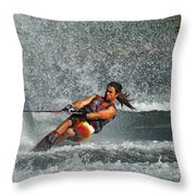 Water Skiing Magic Of Water 15 Throw Pillow by Bob Christopher