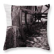 Water Wheel Old Mill Cherokee North Carolina  Throw Pillow by Susanne Van Hulst