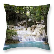 waterfall in deep forest Throw Pillow by Setsiri Silapasuwanchai