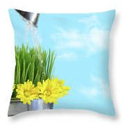 Watering Flowers And Grass For Spring Throw Pillow by Sandra Cunningham
