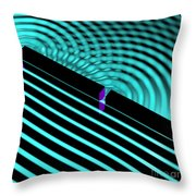 Waves Two Slit 4 Throw Pillow by Russell Kightley