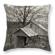 Weathered Hillside Barn Throw Pillow by John Stephens