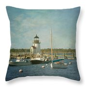 Welcome To Nantucket Throw Pillow by Kim Hojnacki