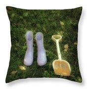 Wellingtons And Shovel Throw Pillow by Joana Kruse