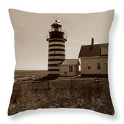 West Quoddy Lighthouse Throw Pillow by Skip Willits