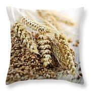 Wheat Ears And Grain Throw Pillow by Elena Elisseeva