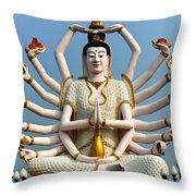 White Buddha Throw Pillow by Adrian Evans