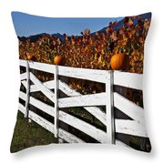 White Fence With Pumpkins Throw Pillow by Garry Gay