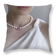 White Pearls Throw Pillow by Eena Bo