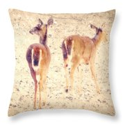 White Tails In The Snow Throw Pillow by Amy Tyler