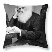 William Cullen Bryant, American Poet Throw Pillow by Photo Researchers