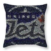 Winnipeg Jets Puck Mosaic Throw Pillow by Paul Van Scott