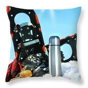 Winter Fun With Hot Chocolate And Cookies In The Snow Throw Pillow by Sandra Cunningham