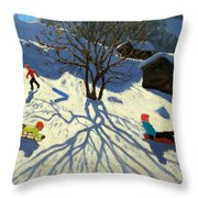 Winter Hillside Morzine France Throw Pillow by Andrew Macara