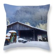 Winter Shed Throw Pillow by Ron Jones