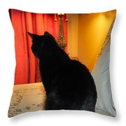 Witches Cat Throw Pillow by Art Dingo