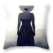 woman at the shore Throw Pillow by Joana Kruse