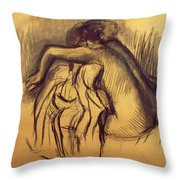 Woman Drying Throw Pillow by Edgar Degas