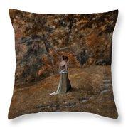 Woman In Green Gown  Throw Pillow by Jill Battaglia