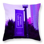 Woman Take Over In Purple Throw Pillow by Kym Backland