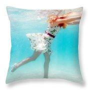 Woman Underwater Throw Pillow by MotHaiBaPhoto Prints