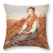 Woman With A Bundle Of Firewood Throw Pillow by Pierre Auguste Renoir
