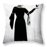woman with butterfly Throw Pillow by Joana Kruse