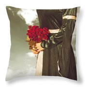 Woman With Roses Throw Pillow by Joana Kruse