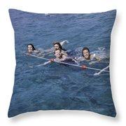 Women Swim In A Municipal Swimming Pool Throw Pillow by B. Anthony Stewart
