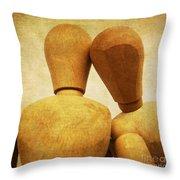 Wooden Figurines Throw Pillow by Bernard Jaubert