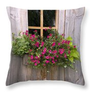 Wooden Shed With A Flower Box Under The Throw Pillow by Michael Interisano