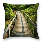 Wooden Walkway Through Forest Throw Pillow by Elena Elisseeva