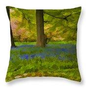 Woodland Watercolour Throw Pillow by Trevor Kersley