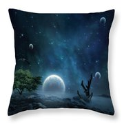 World Beyond Throw Pillow by Lourry Legarde