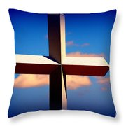 World Largest Cross In Illinois Throw Pillow by Susanne Van Hulst