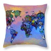 World Peace Tye Dye Throw Pillow by Bill Cannon