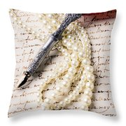 Writing Pen And Perals  Throw Pillow by Garry Gay