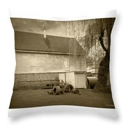Wye Mill - Sepia Throw Pillow by Brian Wallace