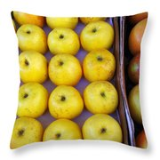 Yellow Apples Throw Pillow by Carlos Caetano