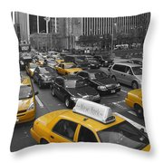 Yellow Cabs NY Throw Pillow by Melanie Viola
