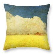 Yellow Field Throw Pillow by Setsiri Silapasuwanchai