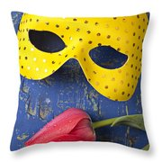Yellow Mask And Red Tulip Throw Pillow by Garry Gay