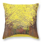 Yellow Trees Throw Pillow by Kume Bryant
