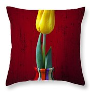 Yellow Tulip In Colorfdul Vase Throw Pillow by Garry Gay