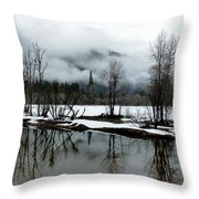 Yosemite River View In Snowy Winter Throw Pillow by Jeff Lowe