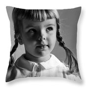 Young Girl Throw Pillow by Hans Namuth and Photo Researchers