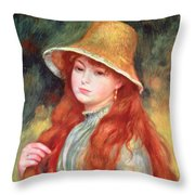 Young Girl With Long Hair Throw Pillow by Pierre Auguste Renoir