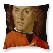 Young Man  Throw Pillow by Domenico Ghirlandaio