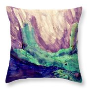 Young Statue Of Liberty Falling From Grace Female Figure Portrait Painting In Green Purple Blue Throw Pillow by MendyZ M Zimmerman